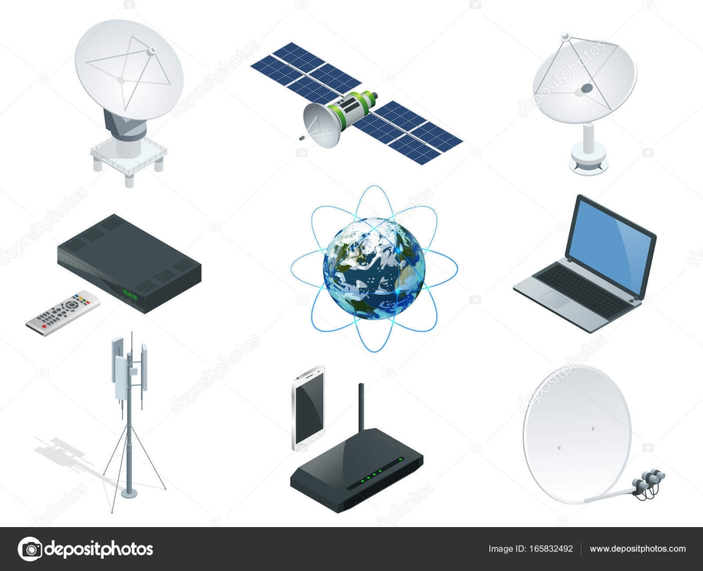 Isometric Wireless Technology and Global communication icons towers ...