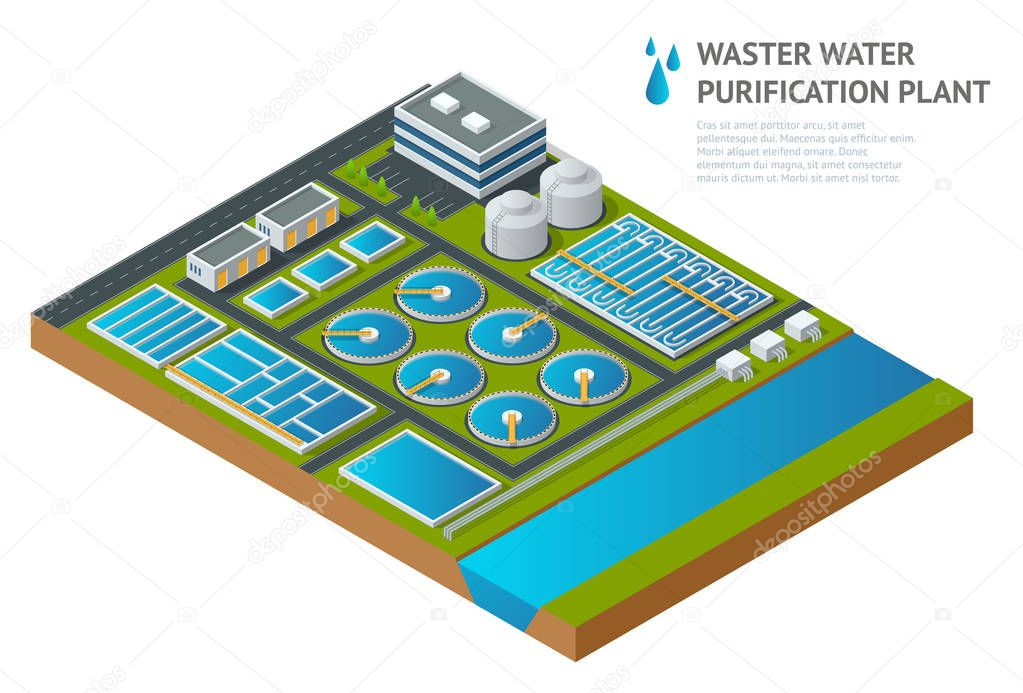 Vector isometric storage tanks in sewage water treatment plant. Illustration scientific article. Pictogram industrial chemistry cleaner Discharge of liquid chemical waste
