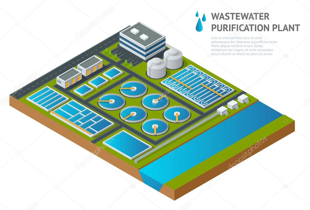 Vector isometric storage tanks in sewage water treatment plant. Dirty wastewater. Discharge of liquid chemical waste. The danger for the environment