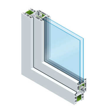 Isometric Cross section through a window pane PVC profile laminated wood grain, classic white. Flat vector illustration of Cross-section diagram of glazed windows.