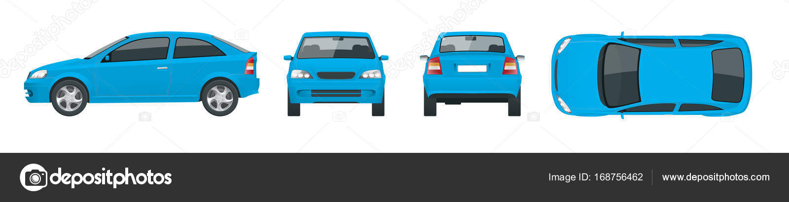 Set of blue Sedan Cars. Isolated car, template for car branding and ...
