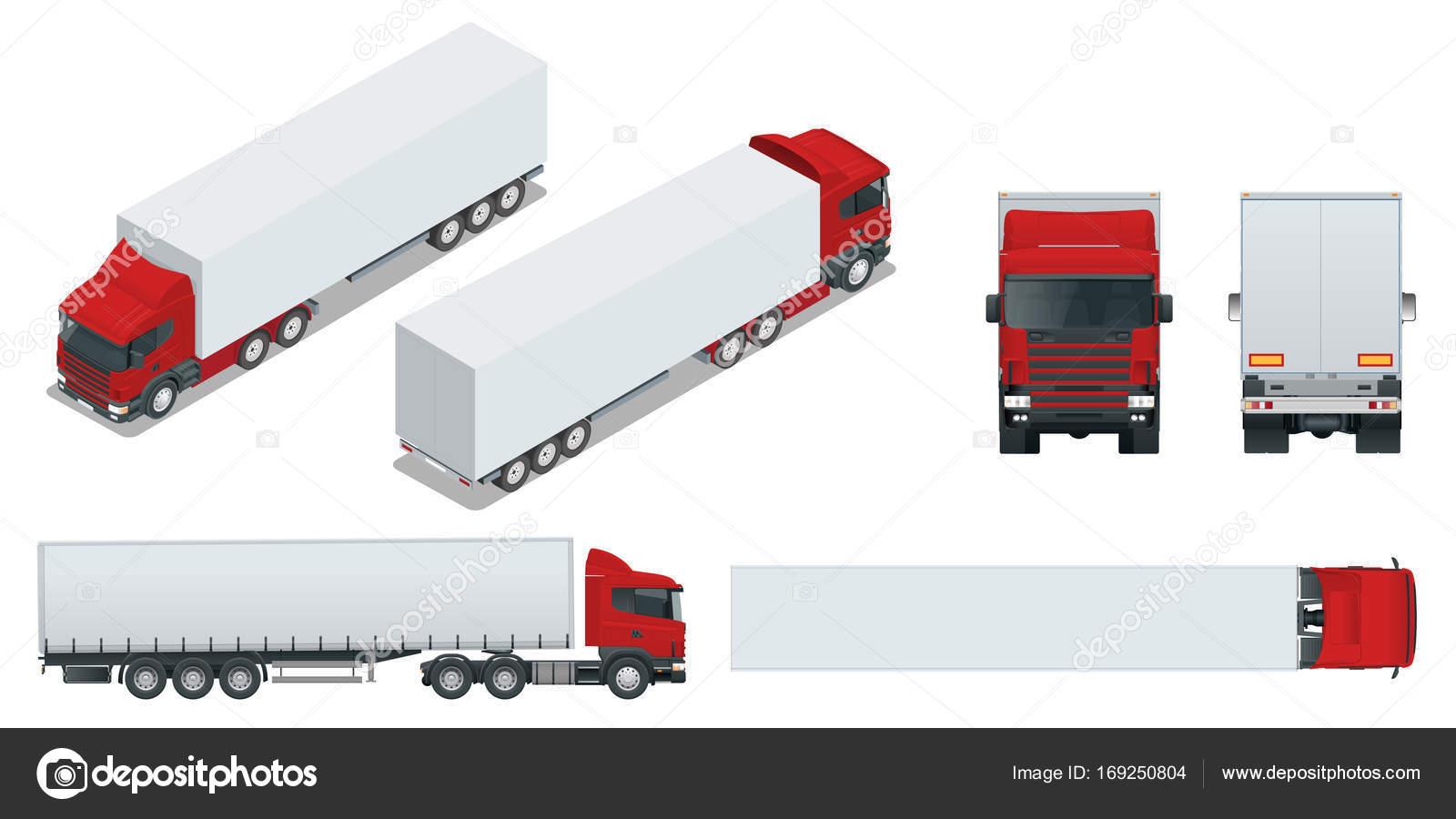 Camión remolque con contenedor. Coche para el transporte de ...
