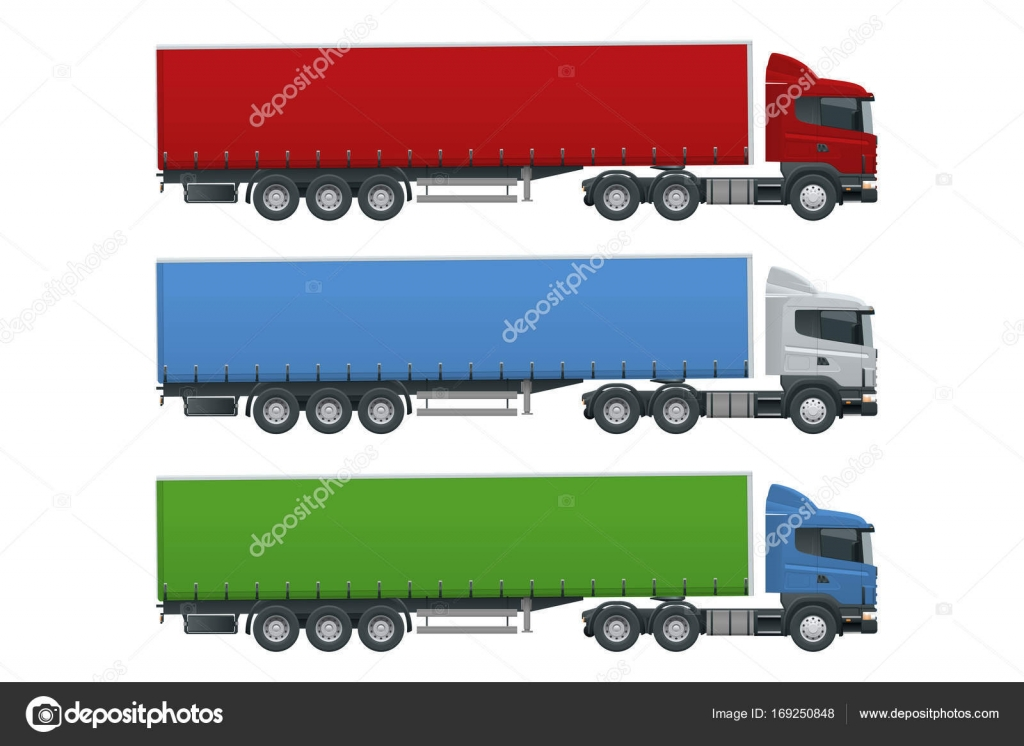 Truck Trailer With Container Cargo Delivering Vehicle