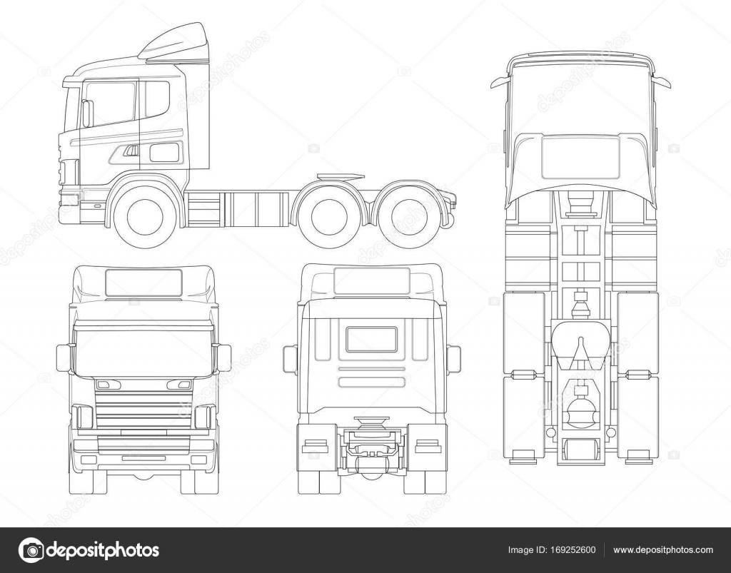 Truck tractor or semi-trailer truck in outline Combination of a ...