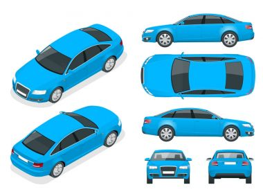 Set of Sedan Cars. Isolated car, template for branding and advertising. Front, rear , side, top and isometry front and back Change the color in one click All elements in groups on separate layers