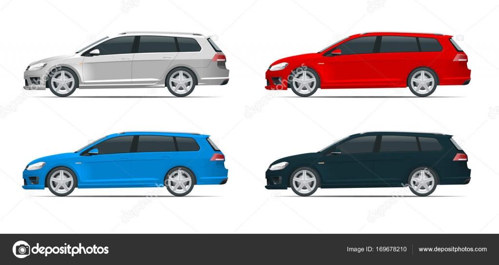 Vektor Fließheck Auto. Kompakt-Hybrid-Fahrzeug. Öko-Hightech-Auto ...