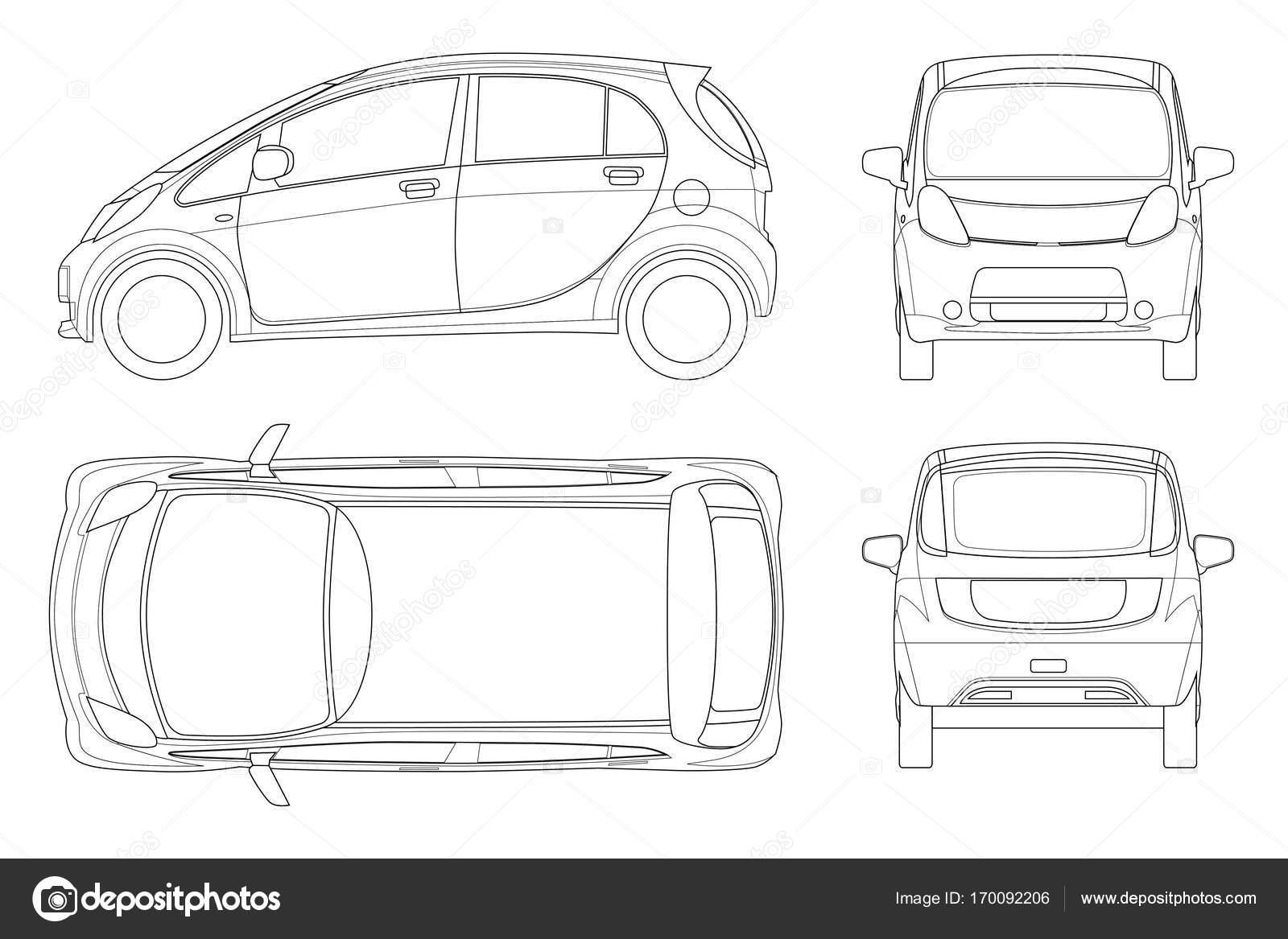 Fahrzeug oder Hybrid-Elektroauto im Umriss. Öko-Hightech-Auto ...