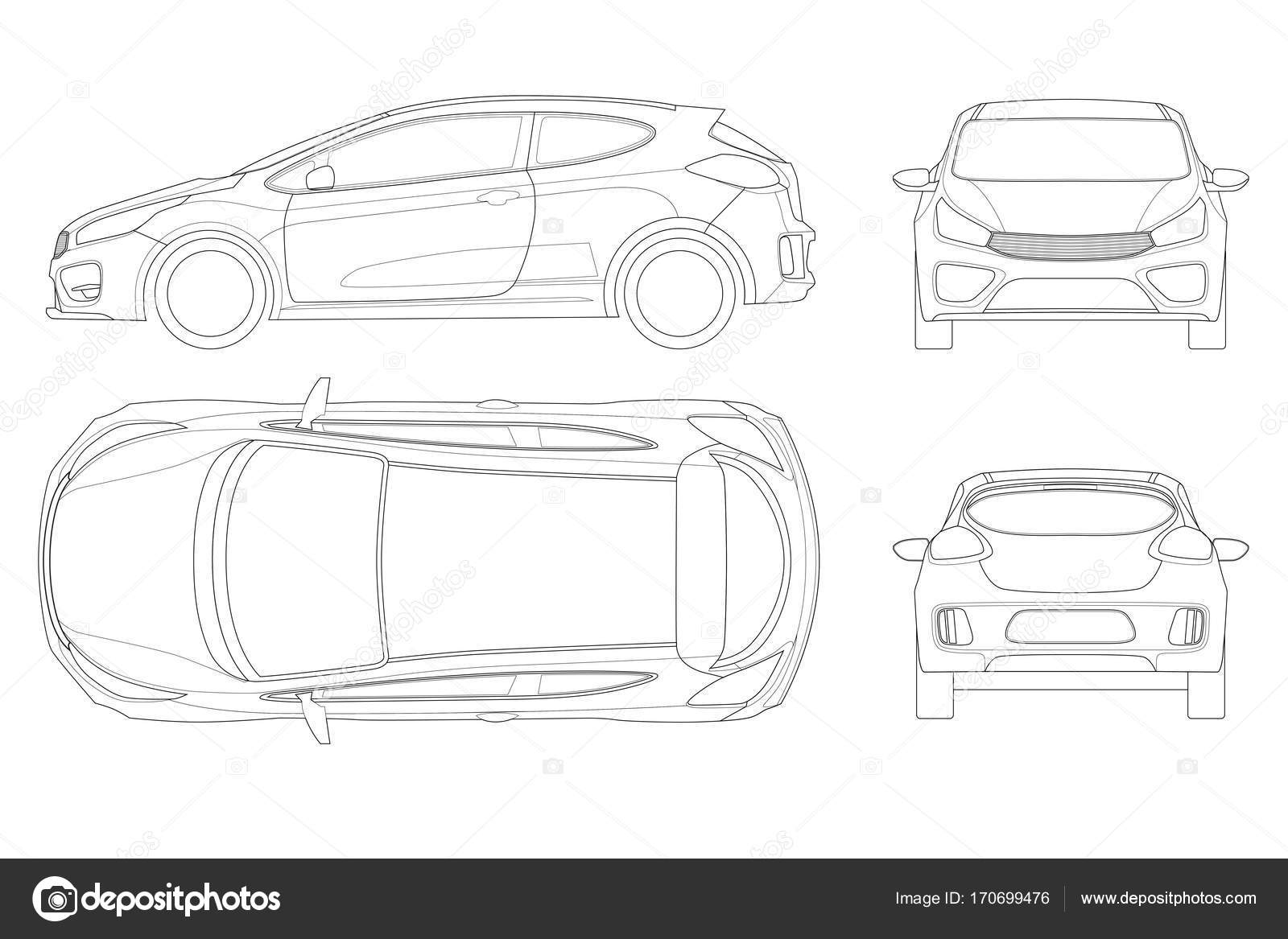 Sportcar Or Hatchback Vehicle Suv Car Set On Outline