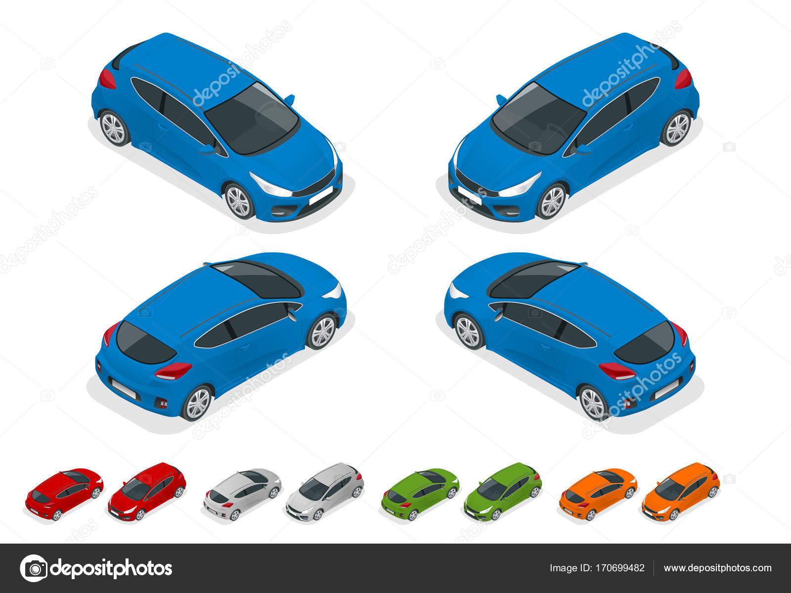 Isometrische Sportcar oder Schrägheck-Fahrzeug. SUV-Auto eingestellt ...