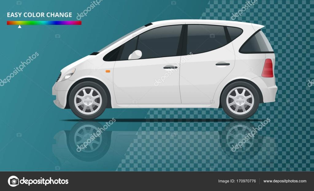 Kleine kompakte Fahrzeug oder Hybrid-Elektroauto auf transparent ...