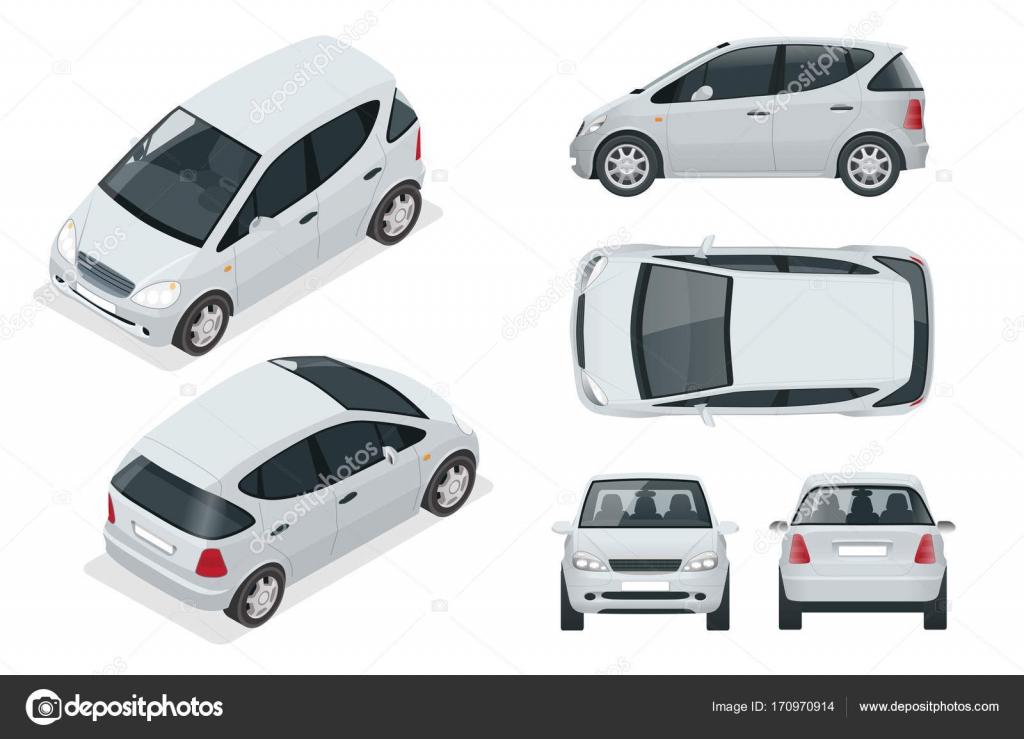Coche vehículo o híbrido compacto eléctrico pequeño. Auto alta ...