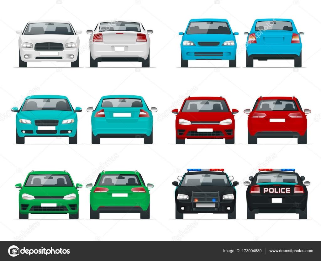 Vector set coches vista delantera y trasera. Vehículo sedán. Auto ...