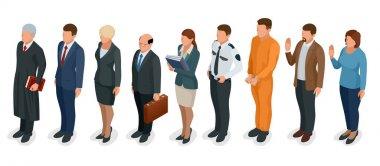 Isometric Law and Justice. People present in court judge, clerk, translator, lawyer, witness, plaintiff, defendant, stenographer, prosecutor, defendant, police officer Vector illustration