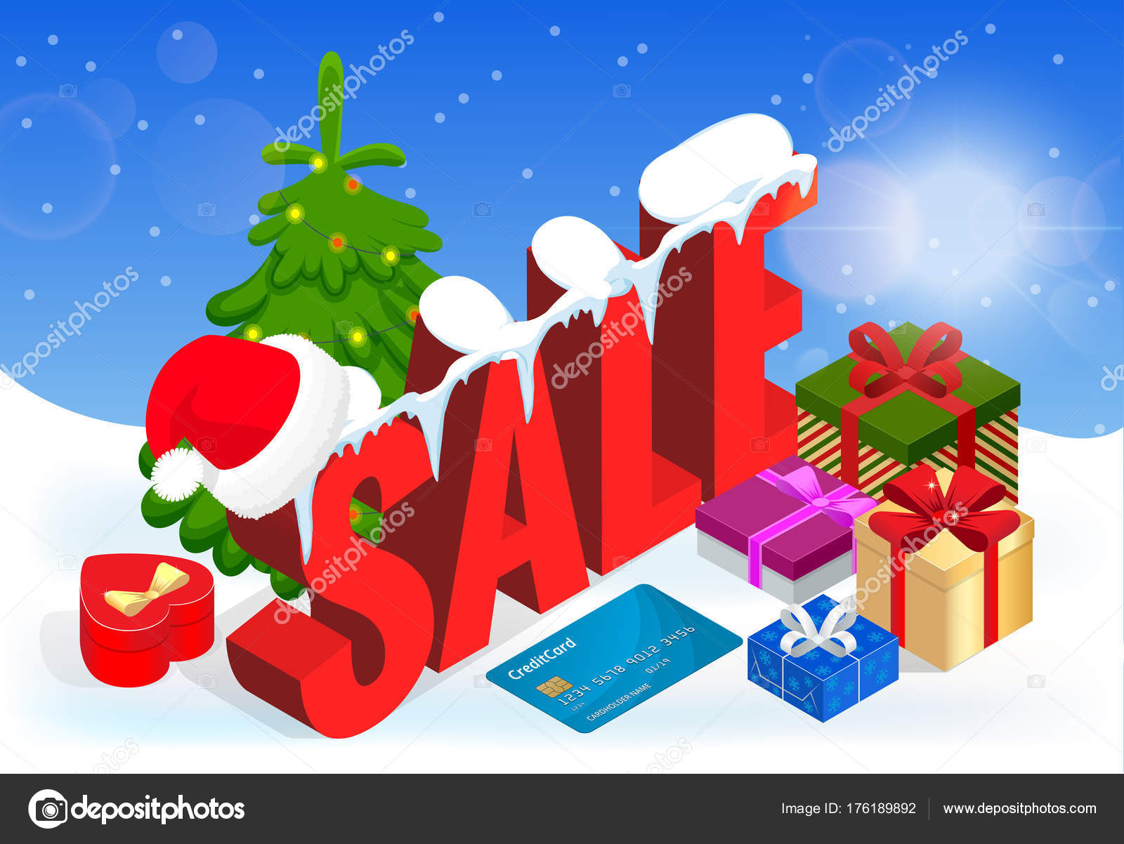 winter christmas sale banner vector illustration winter shopping