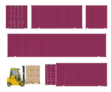 Different types of container and forklift. Side view.