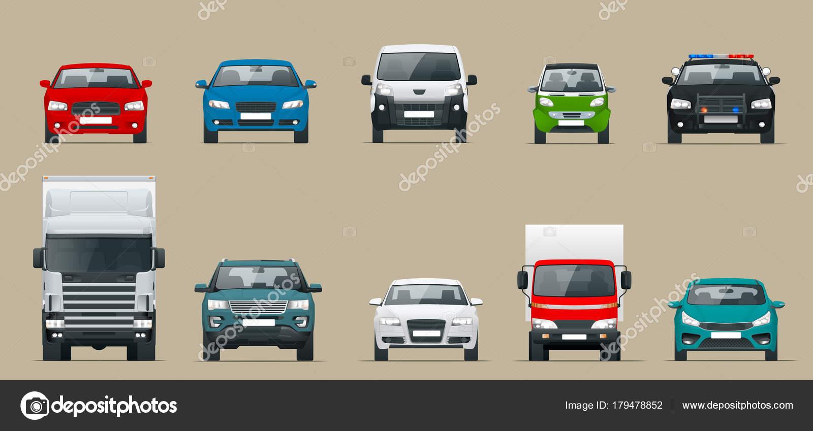 Vista frontal de auto ajuste. Vehículos en la ciudad. Ilustración de ...