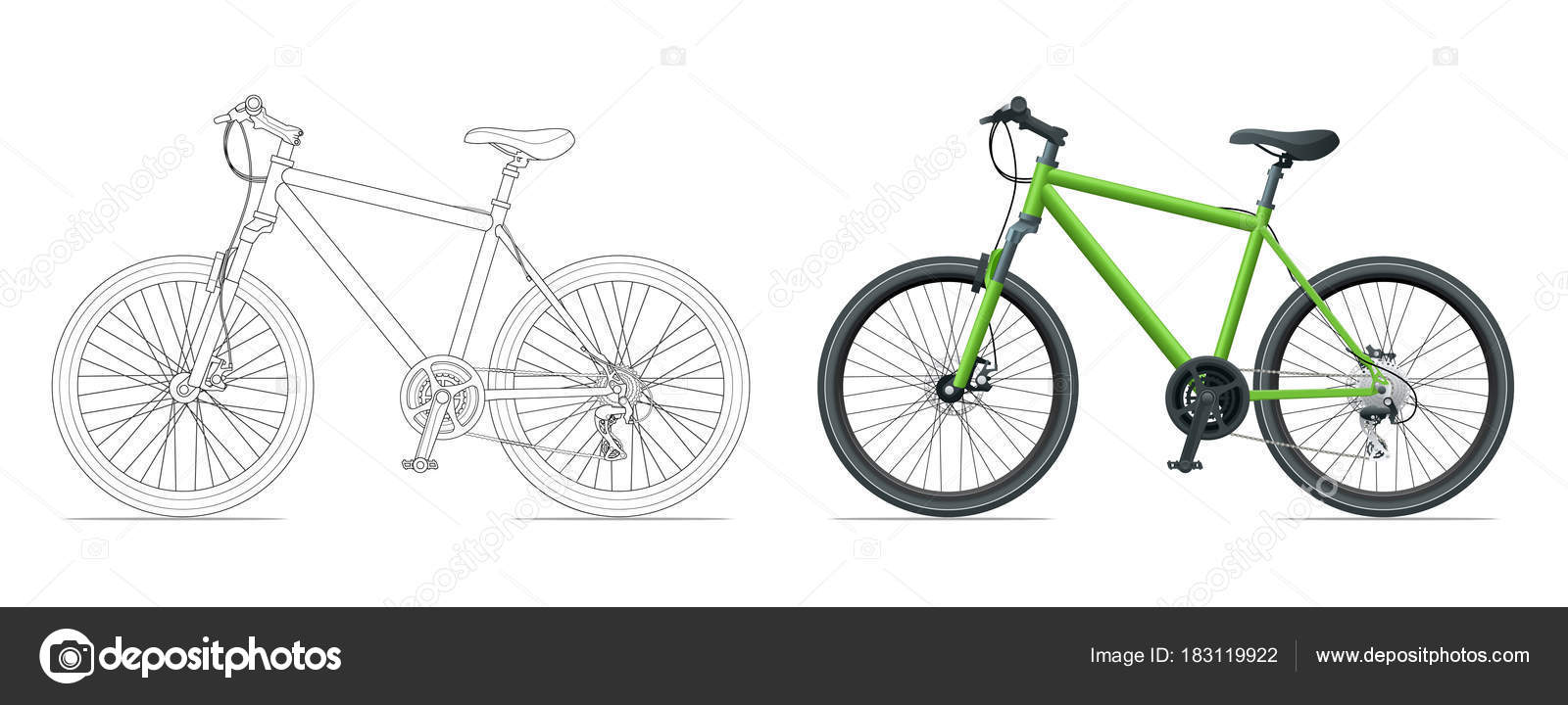 Übersicht Fahrrad Umriss isoliert auf weißem Hintergrund. Mountain ...