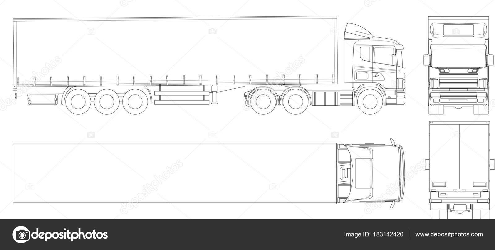 Vector Truck Trailer Outline. Commercial Vehicle. Cargo