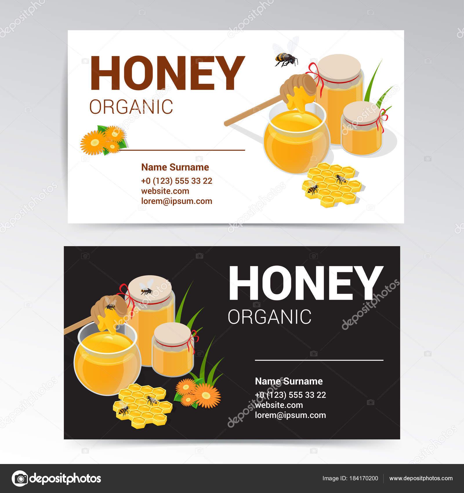 Diseño vector miel orgánica tarjetas de visita plantillas blanco y ...