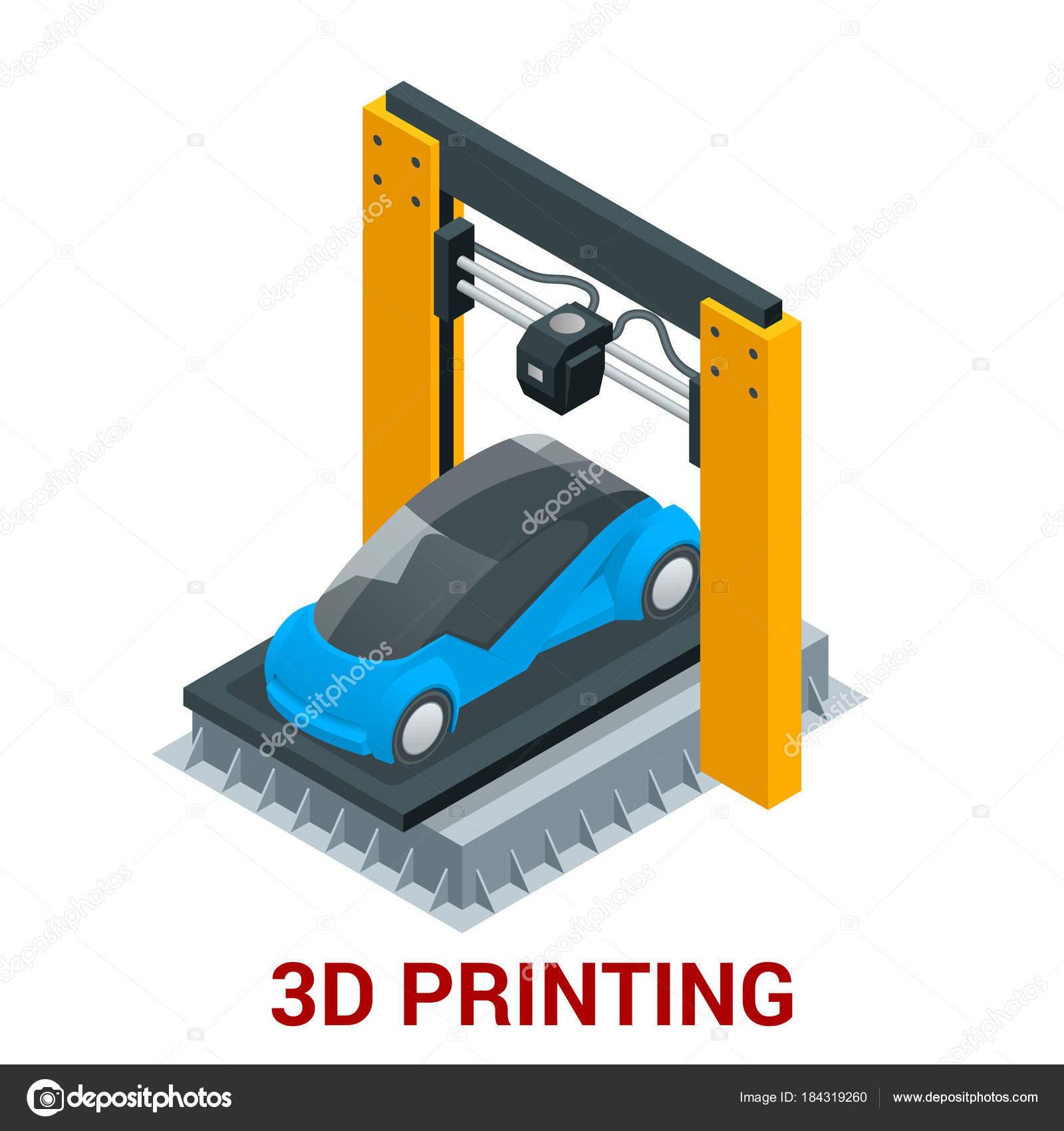 New Generation Of 3D Printing Machine Printing Car. Vector