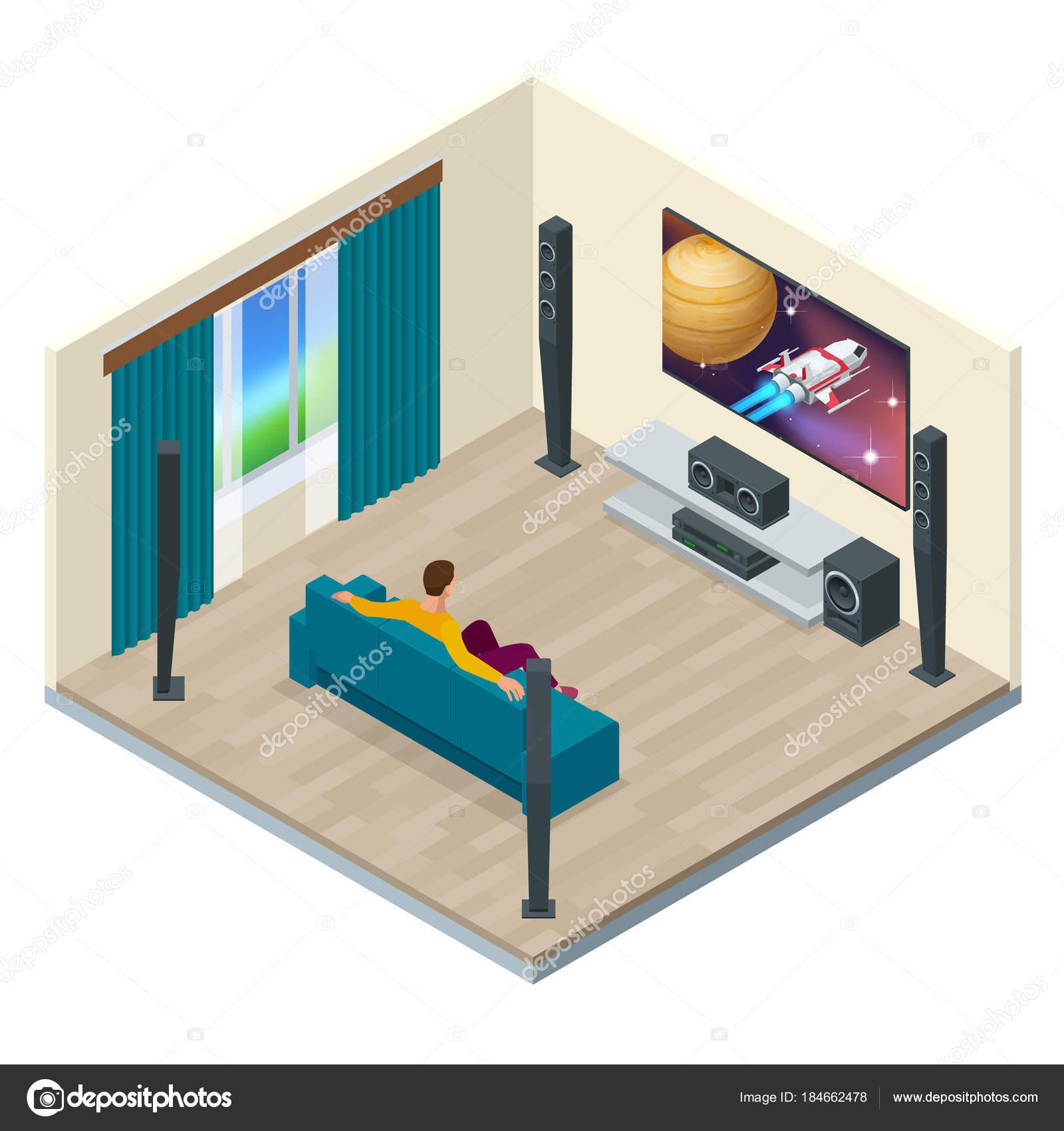 Wohnzimmer Einrichtung Mit Modernen Heimkino System. Digital Erstellt Und  Hoher Auflösung Gerendert. Heimkino