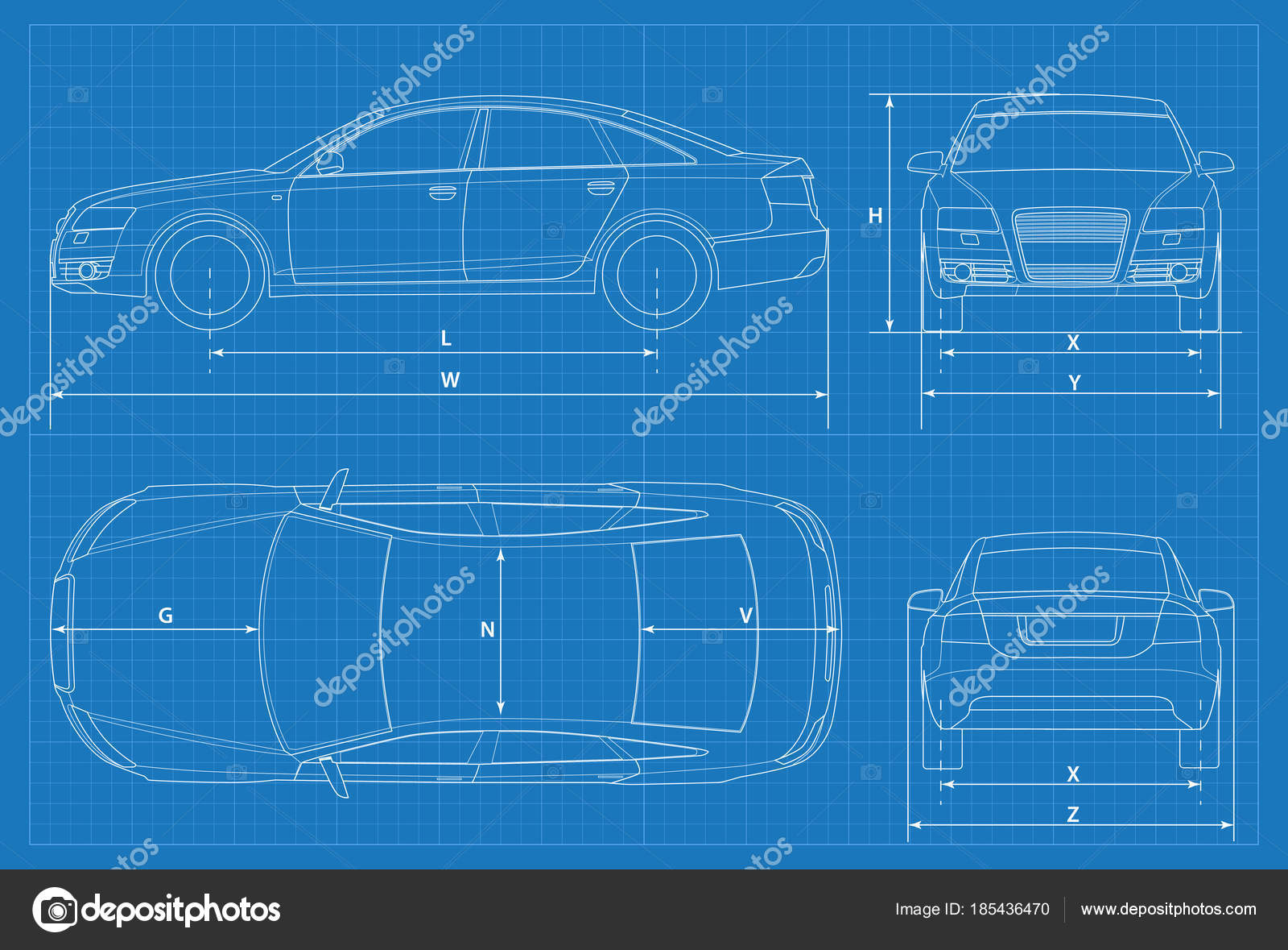 Car schematic or car blueprint. Vector illustration. Sedan car in ...