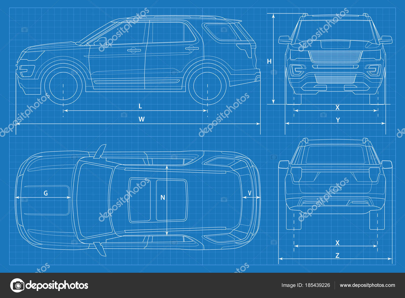 Off road car schematic or suv car blueprint vector illustration off road car schematic or suv car blueprint vector illustration off road car in outline business vehicle template vector view front rear side top malvernweather Gallery