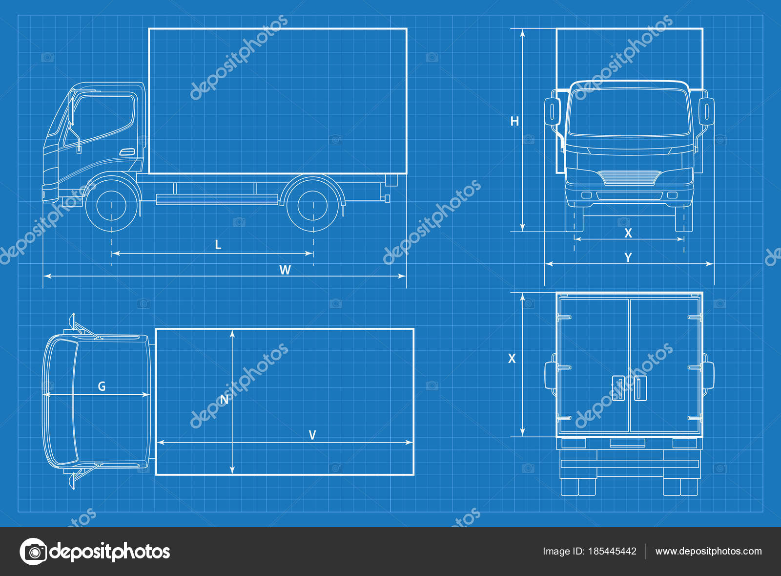 Delivery truck schematic or van car blueprint vector illustration delivery truck schematic or van car blueprint vector illustration truck car in outline malvernweather Images
