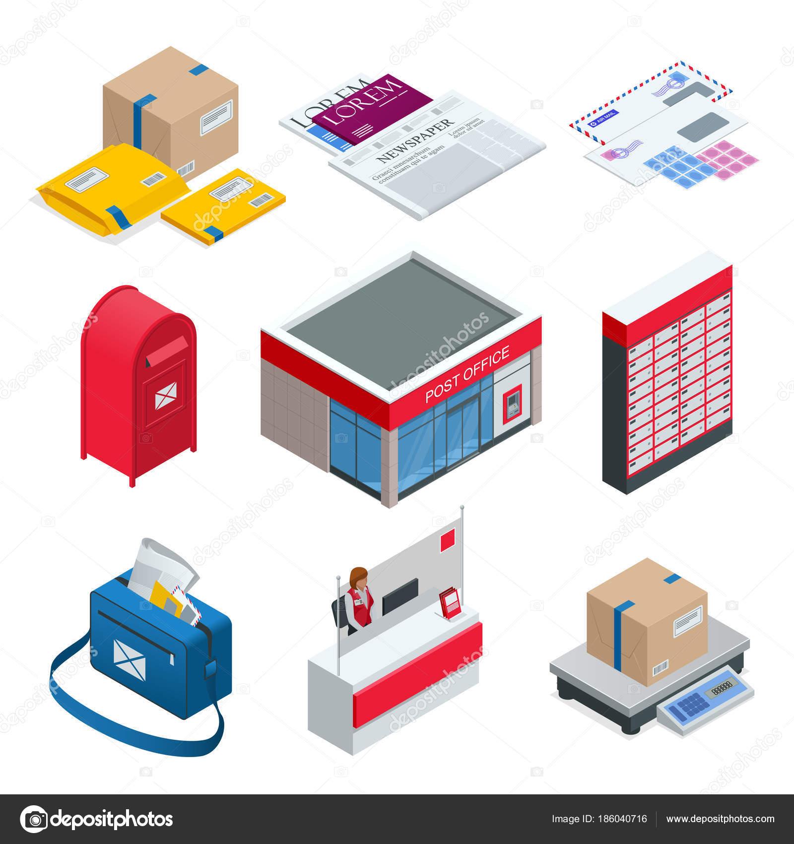 Isometric Set Of Post Office, Postman, Envelope, Mailbox
