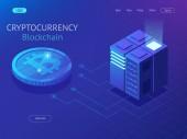 Fotografie Kryptowährung und Blockchain isometrische Zusammensetzung. Großen Datenverarbeitung, Energiestation Zukunft, Raum Serverschrank, Rechenzentrum