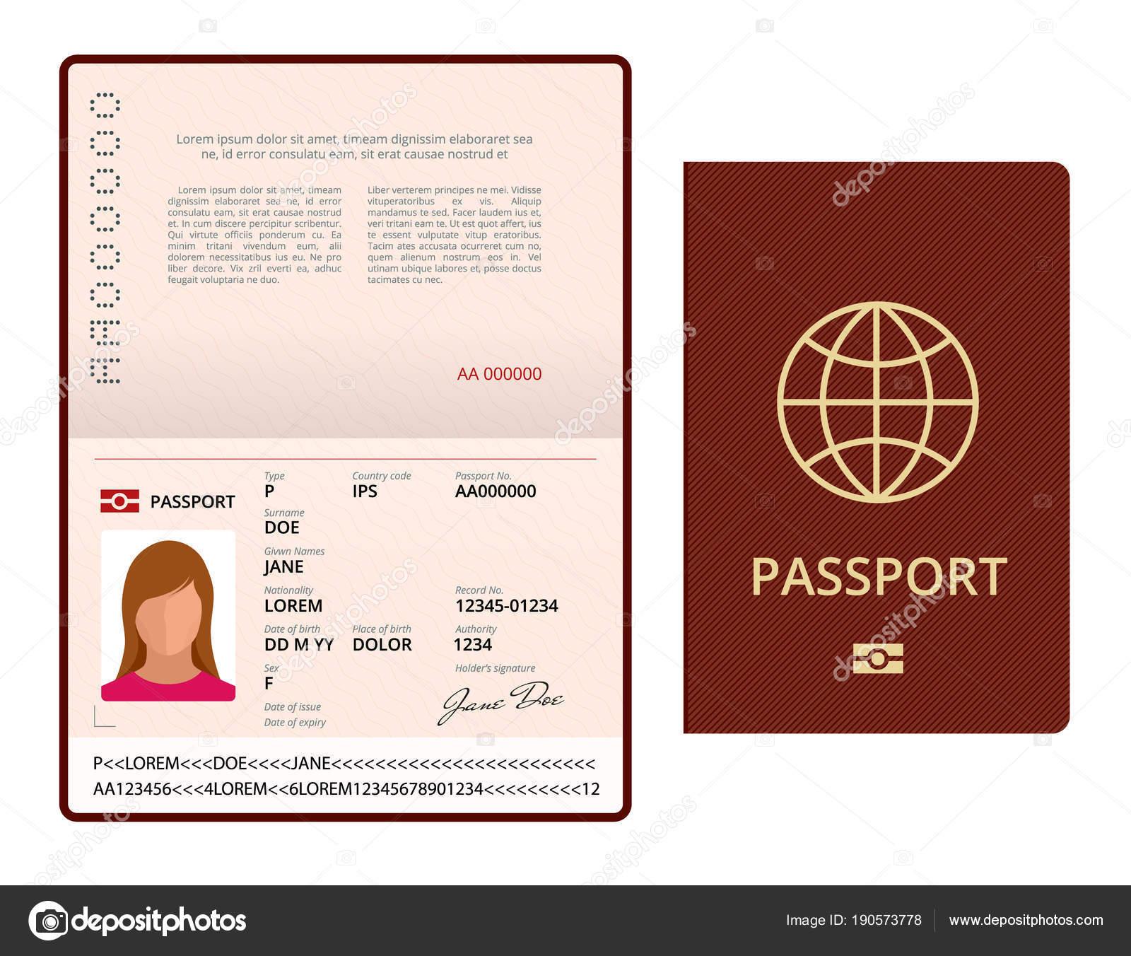 Pictures : editable passport template   Vector Blank open