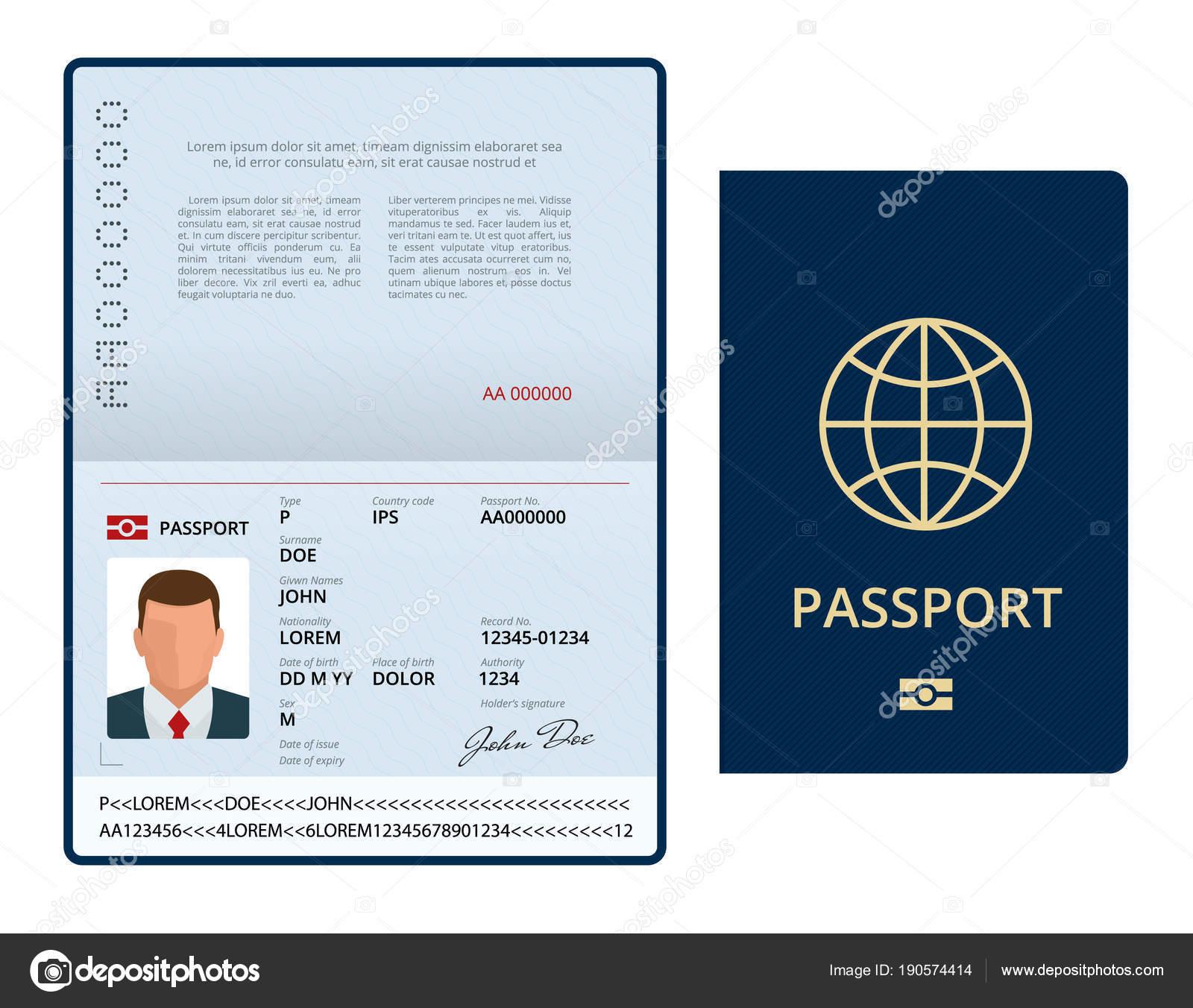 Vektor-leere offene Pass-Vorlage. Reisepass mit Personendaten ...