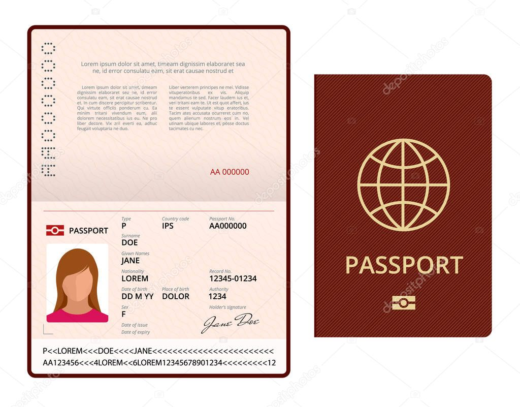 vector blank open passport template  international passport with sample personal data page