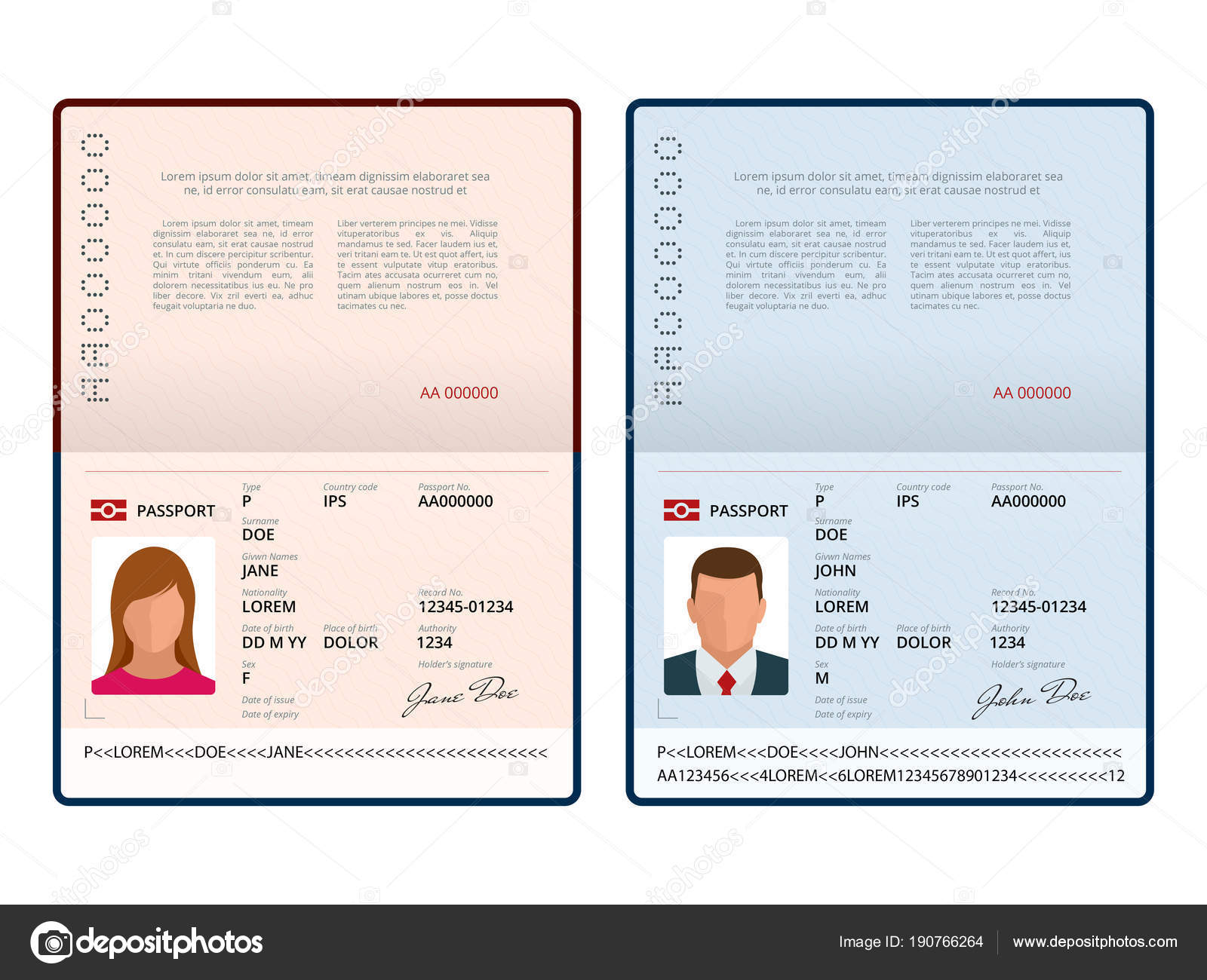 Vector: passport template | Vector Blank open passport