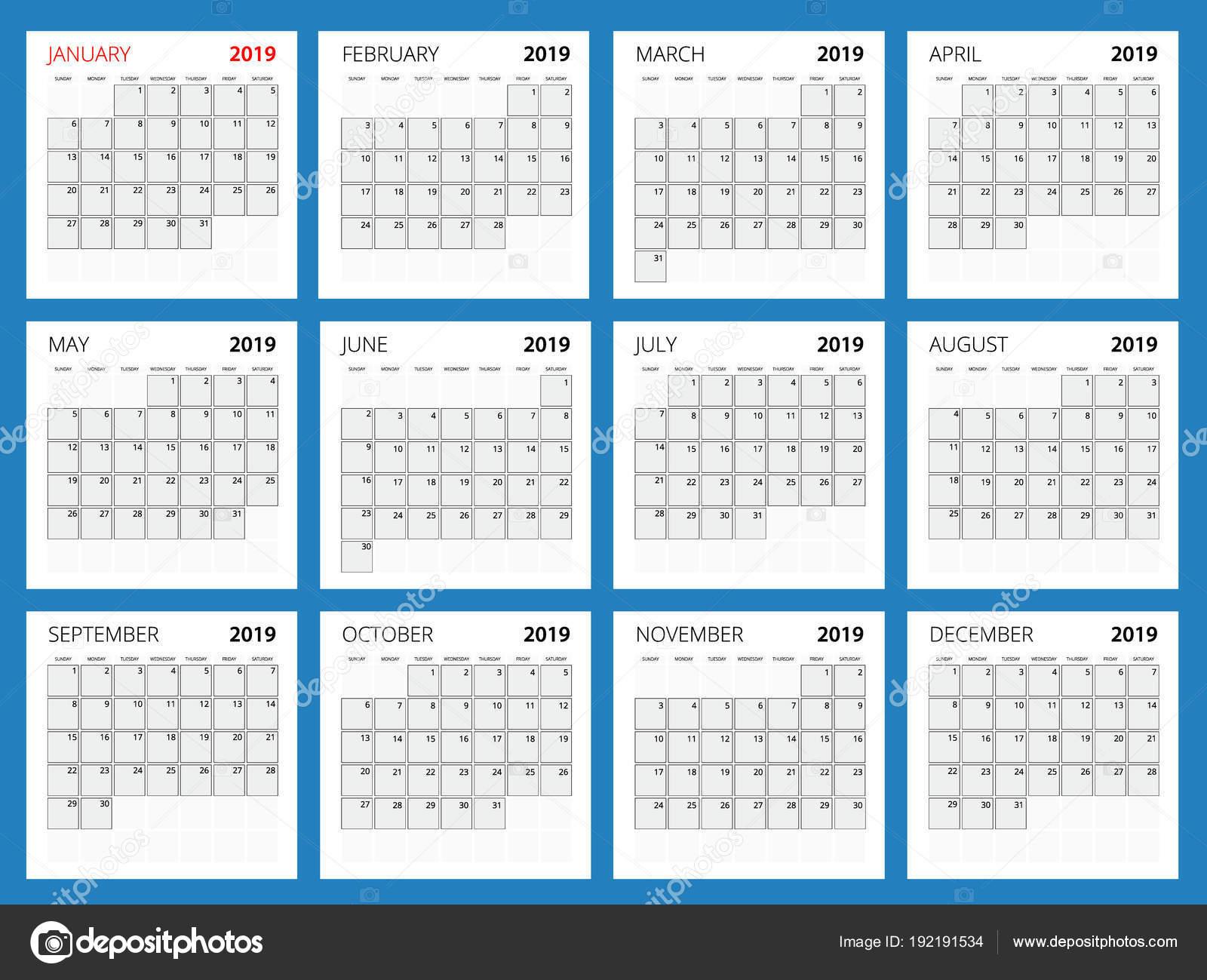 Kalender-Planer für das Jahr 2019. Vektor Briefpapier Design drucken ...
