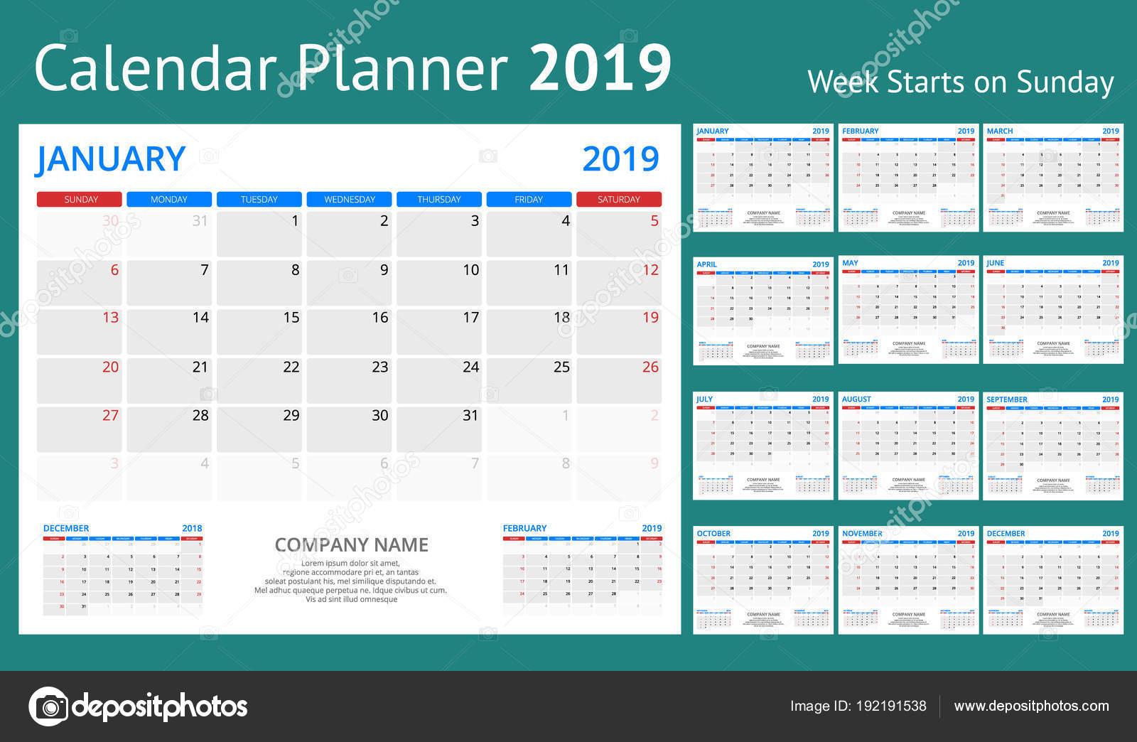 2019 es naptár sablon Naptár tervező 2019 évre. Vektor levélpapír Design nyomtatási  2019 es naptár sablon