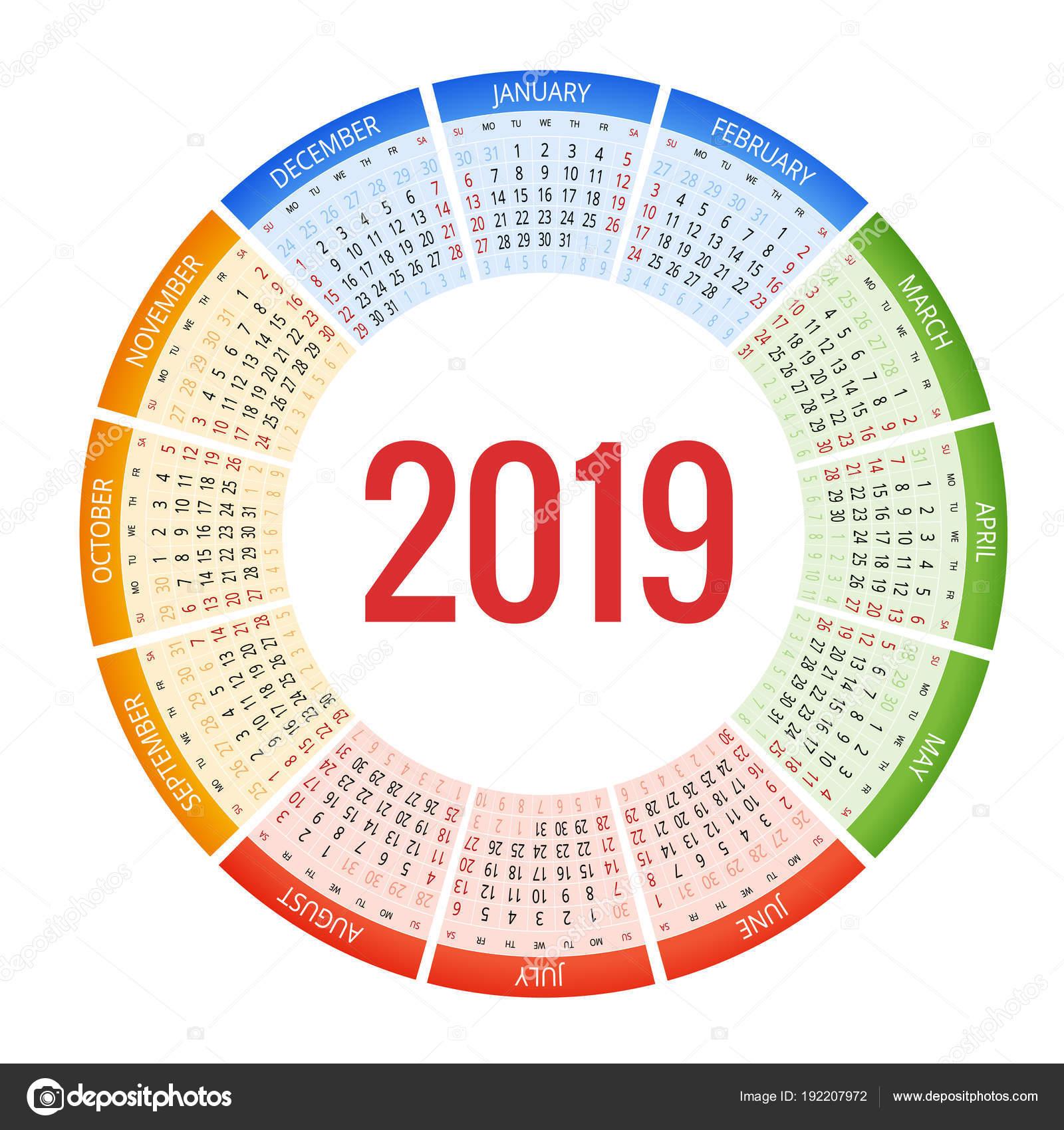 Round Calendar Design : Diseño colorido calendario circular plantilla de