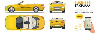 Cabrio Car taxi. Transfer, flat high quality city service transport icon set.Build your own world web infographic collection. Taxi branding mockup. View from side, front, back and top.