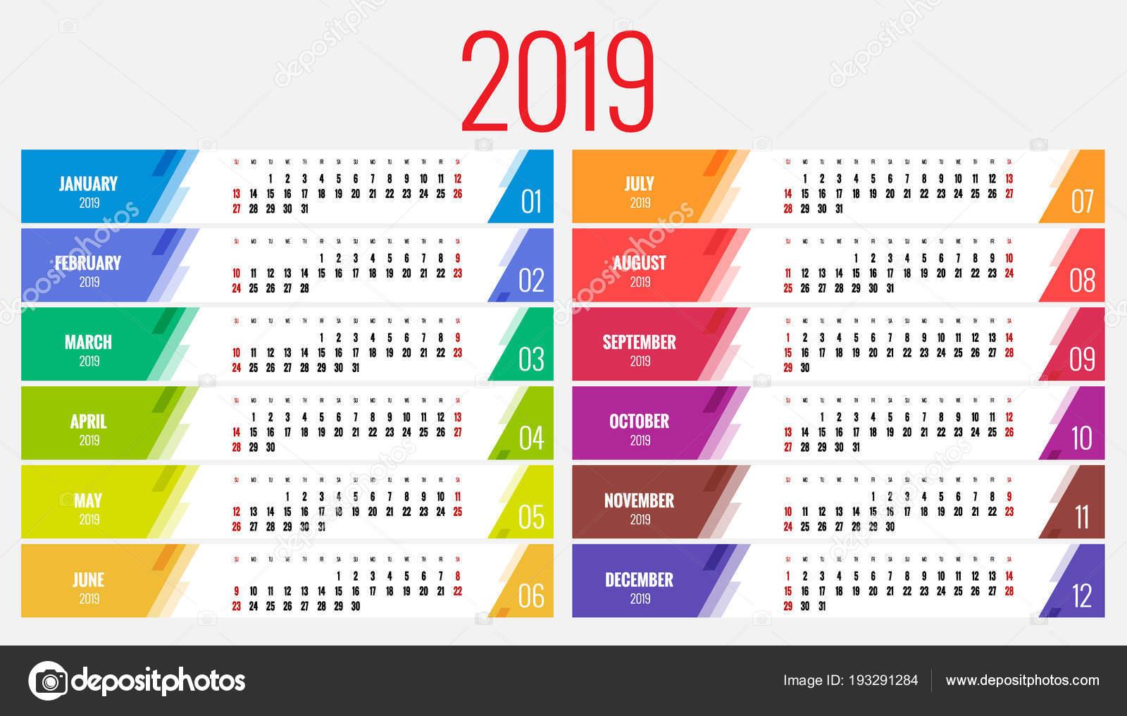 Planejador de calendário para o ano de 2019. Vector Design papelaria modelo  impressão com lugar para foto, seu logotipo e texto. Orientação retrato.