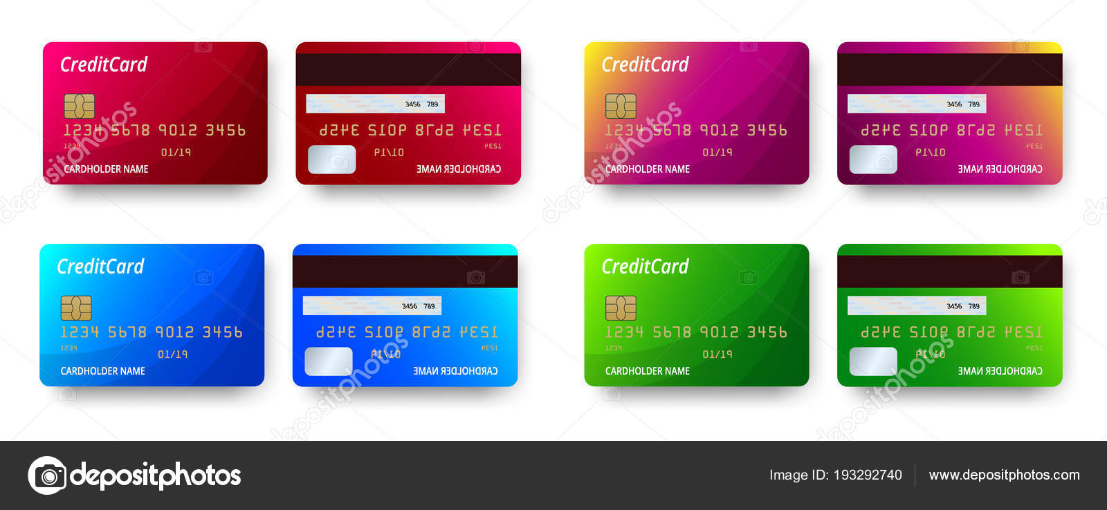 templates realistic detailed credit cards set design vector plastic credit card or debit card - Plastic Credit Card