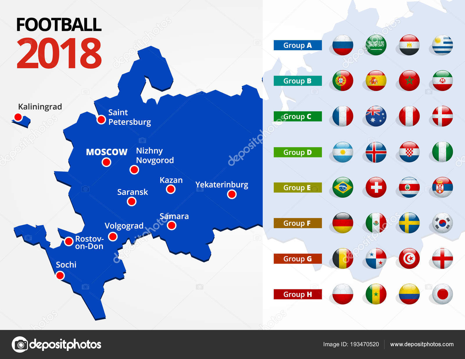 Football 2018 Europe Qualification All Groups And Map With Russian