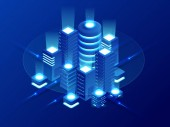 Izometrikus Web hosting, adatok biztonsági másolatból, visszaszerez fájl fogalma, felhő adat raktározás, digitális technológia, blockchain, kiszolgáló helyiség. Internet forgalom szállítmányirányítás, szerver szoba rack vektor technológia