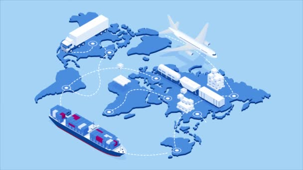 Global logistics network isometric illustration Icons set of air cargo trucking rail transportation maritime shipping On-time delivery Vehicles designed to carry large numbers of cargo HD Video.