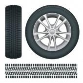 Autoräder und Reifen hintereinander. Autoreifen und Spuren Vektor isolierte Symbole