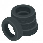 isometrische Autoreifen-Symbol. Kompletter Satz Autoräder, neue Reifen, realistische Zusammensetzung