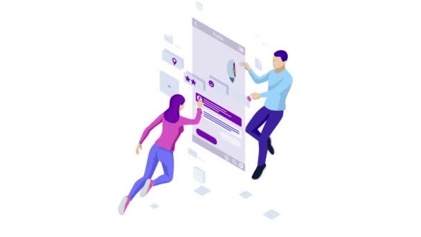 Isometric Personal Data Information App, Identity Private Concept. Digitální data Secure Banner. Biometrická technologie pro rozpoznávání osobní identity a ověřování přístupu. Hd video.