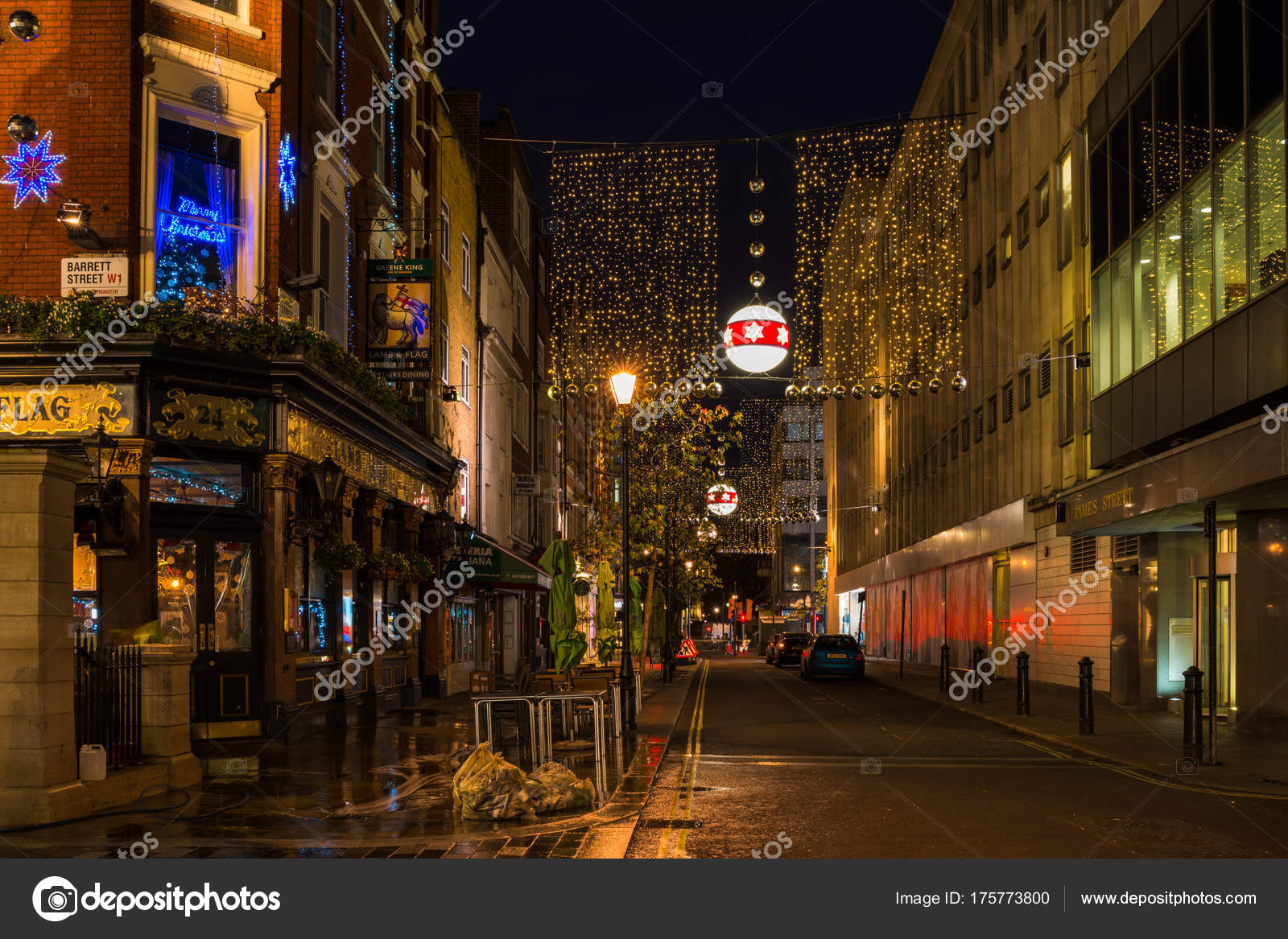 christmas decorations on james street in central london uk stock photo - London Christmas Decorations