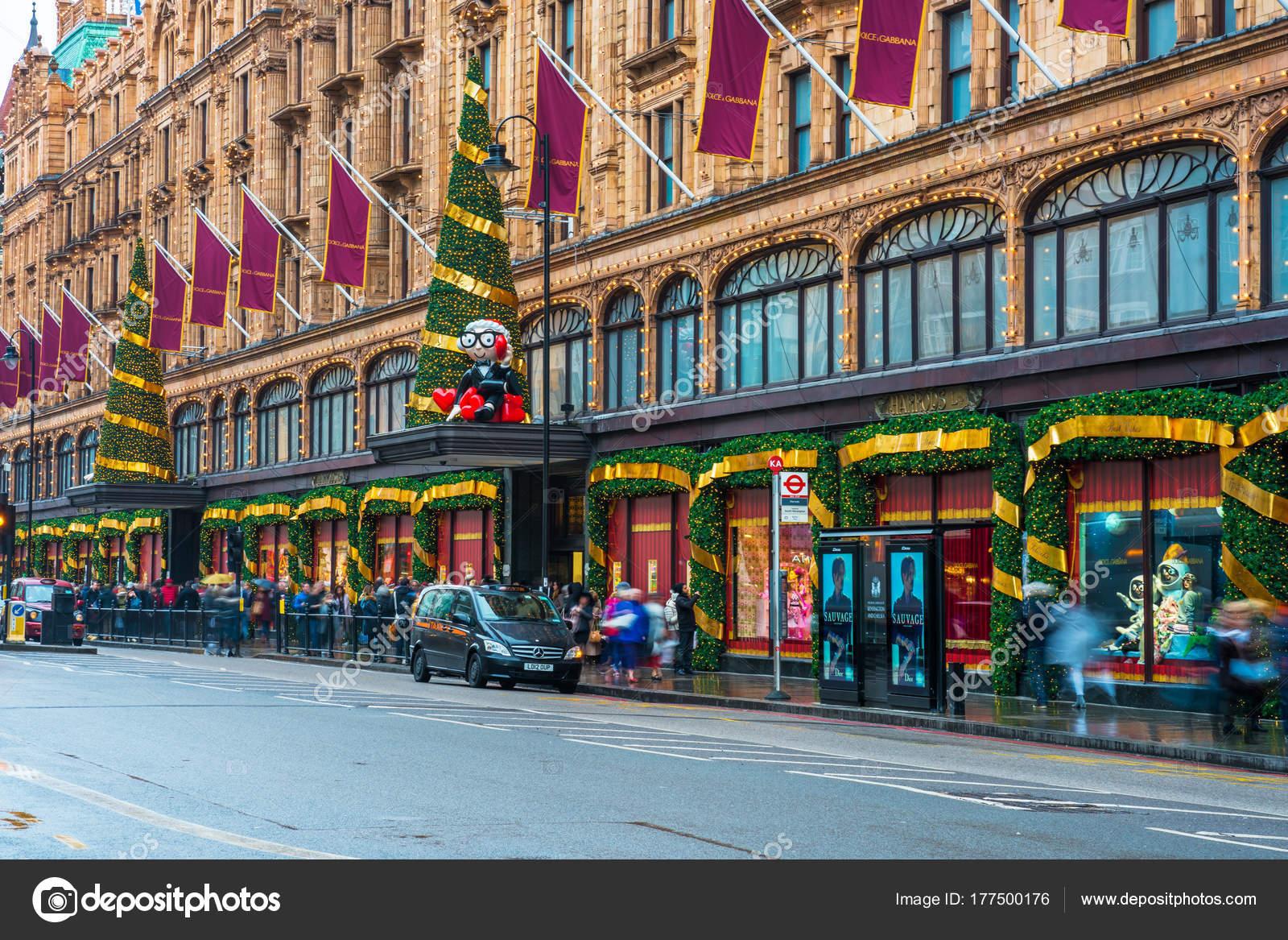 Harrods Winkel Gevel Versierd Voor De Kerst Londen Uk