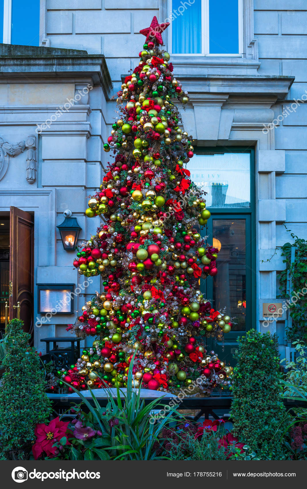 Christmas Tree Outside.Christmas Tree Outside The Ivy Market Restaurant In Covent