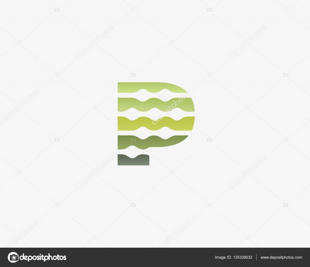 Resumen carta P icono vector logos. Biotecnología colorido universal ...